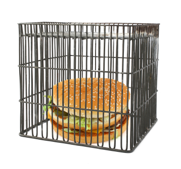 hamburger in cage Alzheimer's Linked to High Trans Fat Consumption